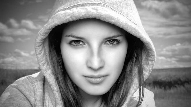 black white photography girl