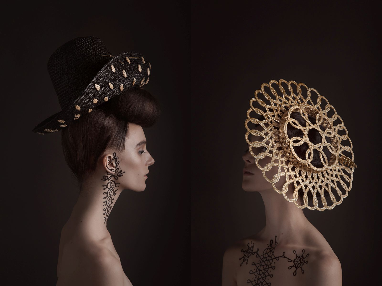 surreal fashion photography black golden hats by madame peripetie