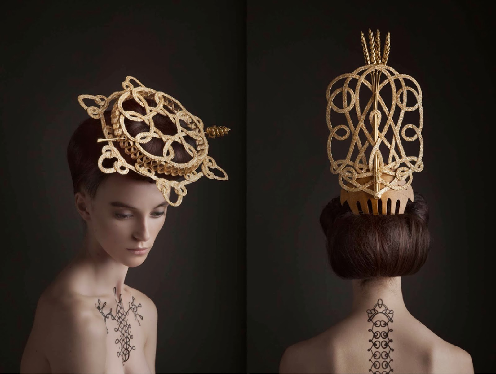 surreal fashion photography raised comb crown by madame peripetie