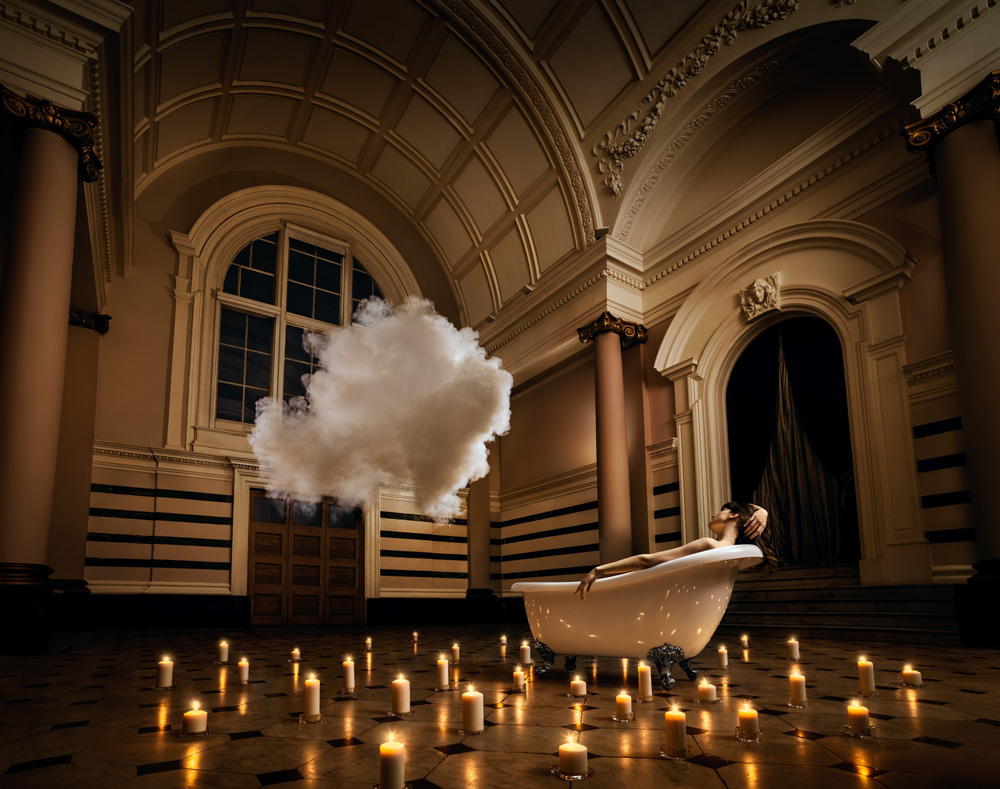 advertising photo manipulation bath cloud candles by jackson carvalho