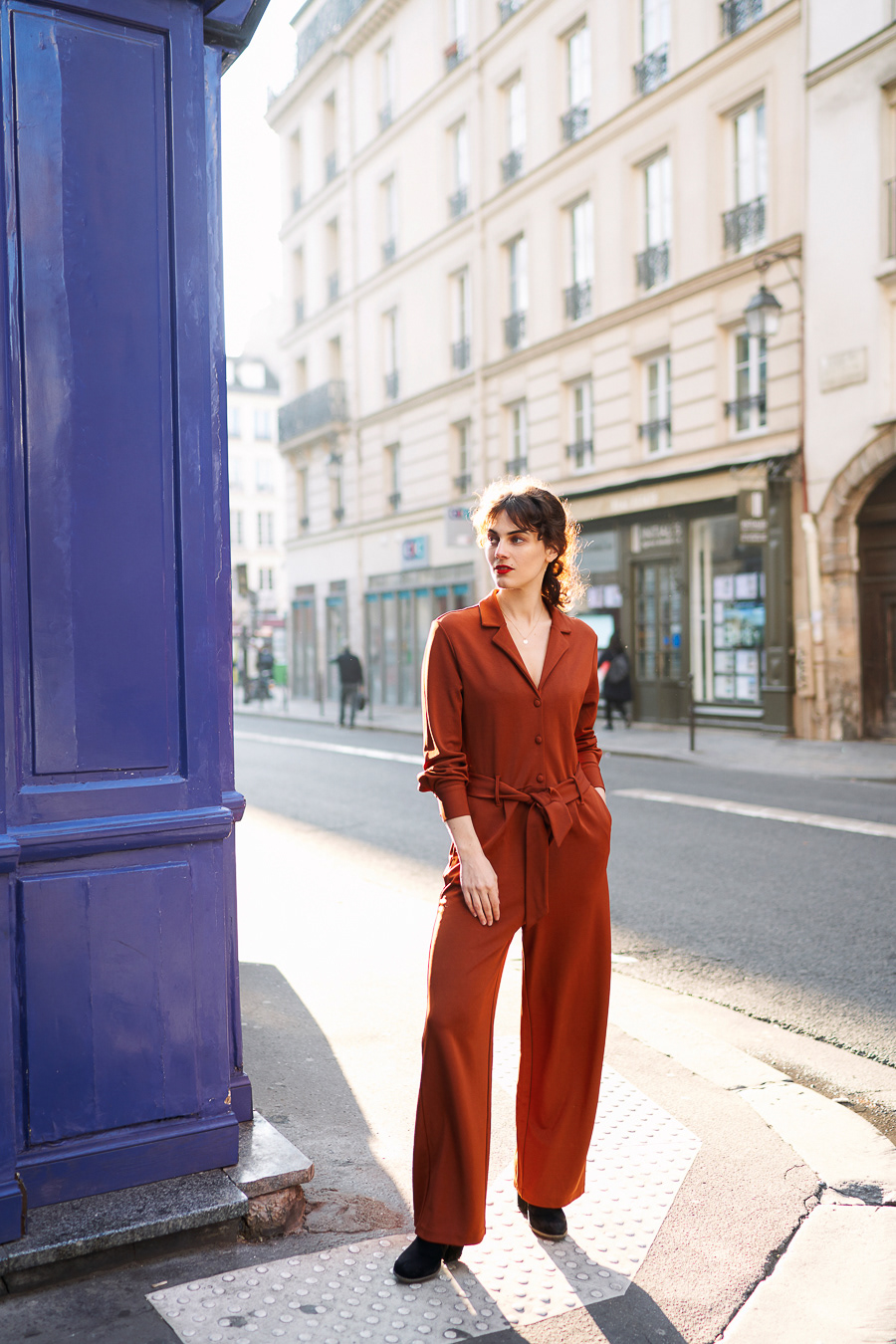 fashion photography brown jumpsuit by pauline darley