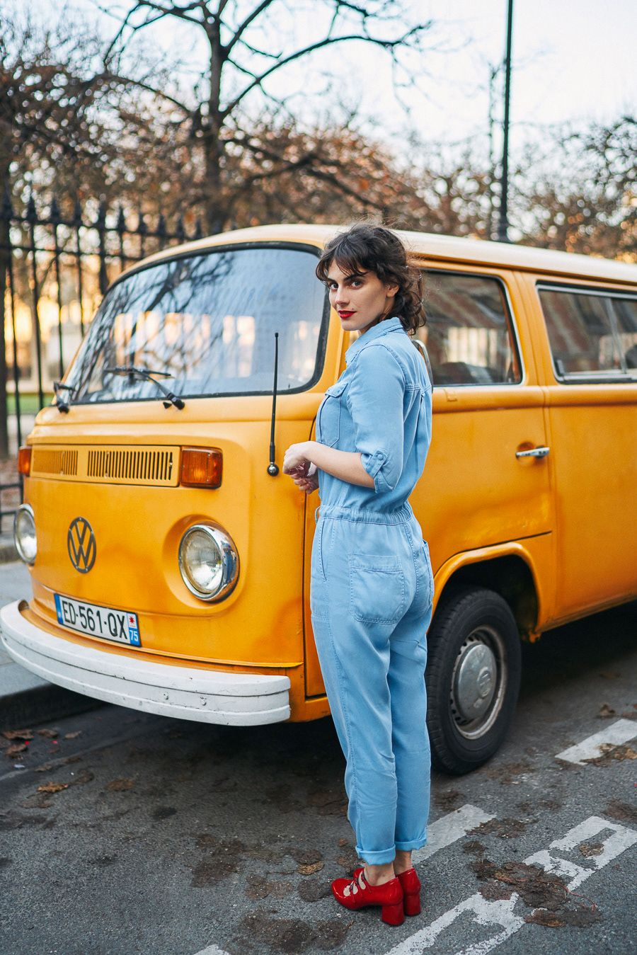 fashion photography blue jumpsuit by pauline darley