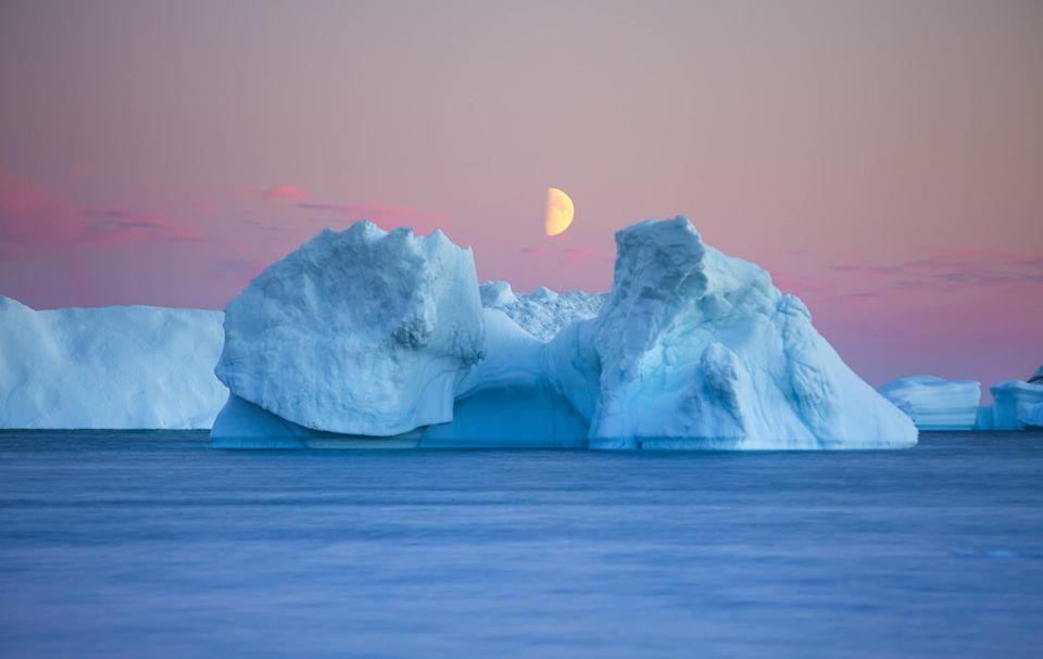 travel photography greenland night iceberg moon by dave brosha