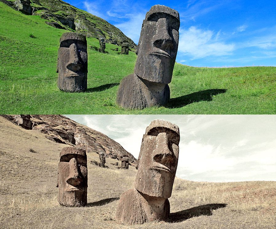 moai statues photo manipulation by joel krebs