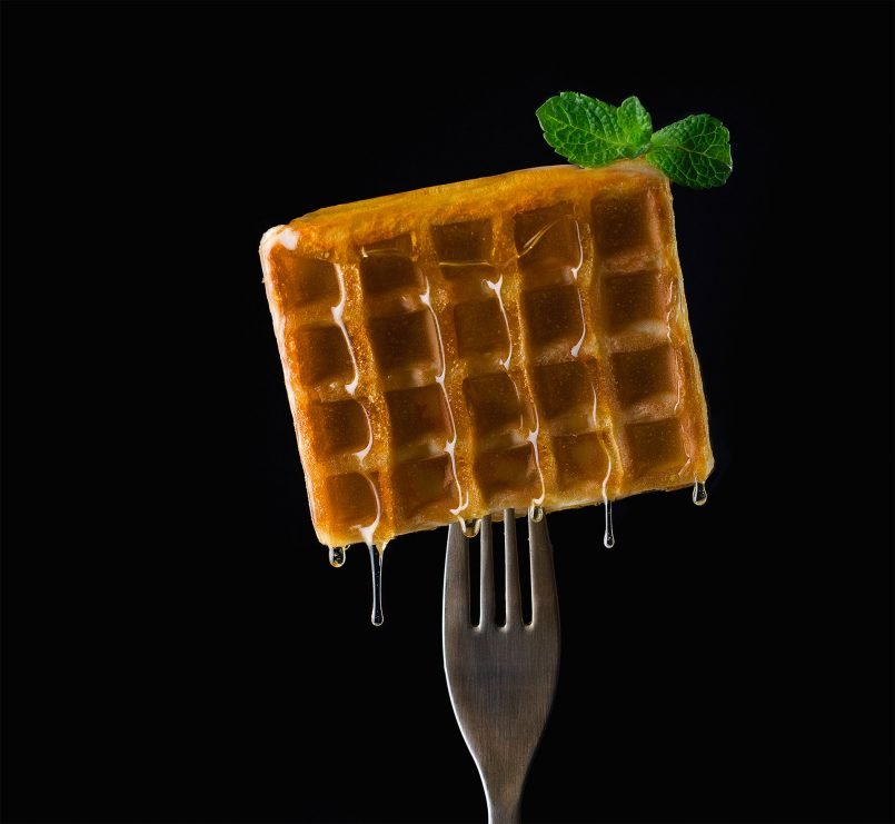 creative food photography ideas honey waffle by pavel sablya
