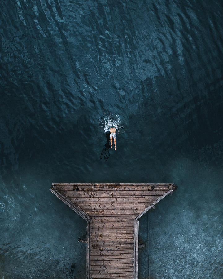 aerial photography swimming by witold ziomek