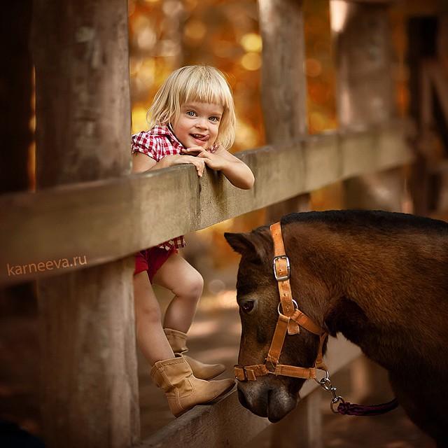 4 horse kid photography by elena karneeva