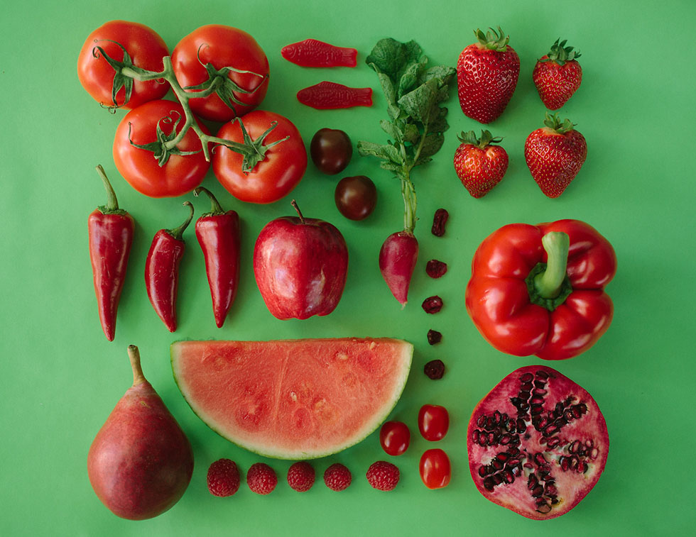 arrange objects photography idea red color fruits vegetables emily blincoe