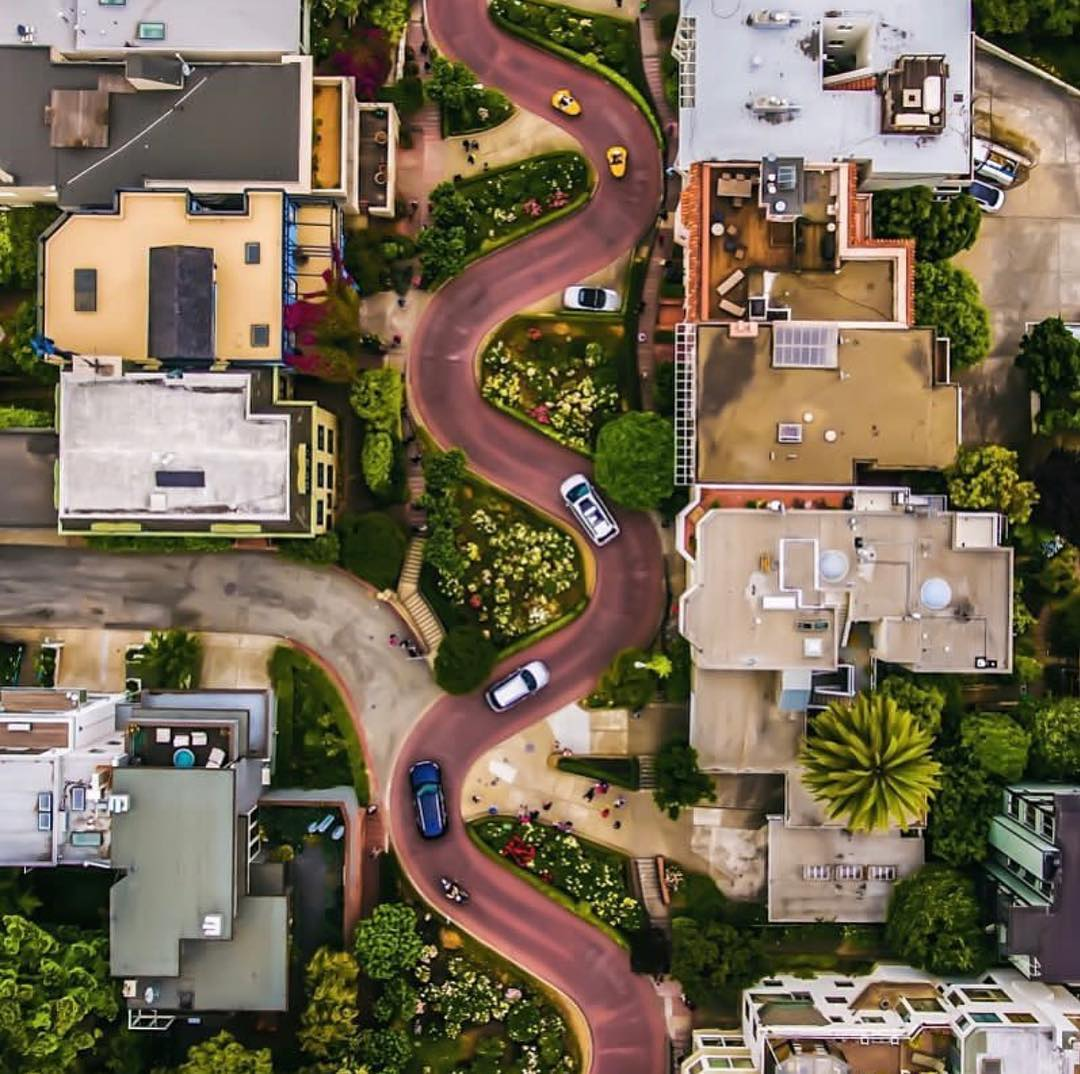 aerial drone photography crooked street dumas