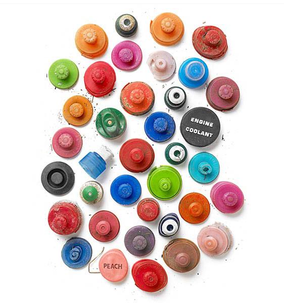 photography idea arrange scrap plastic items