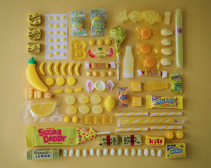 arrange objects photography idea yellow candies emily blincoe