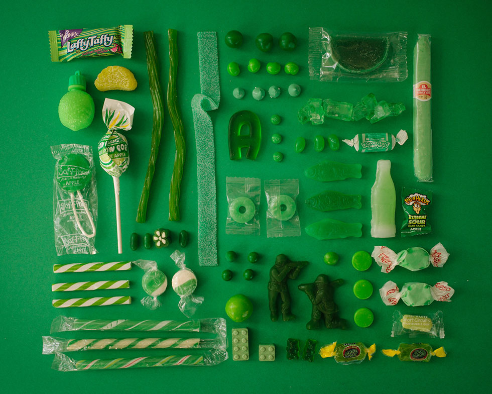 arrange objects photography idea green candy emily blincoe