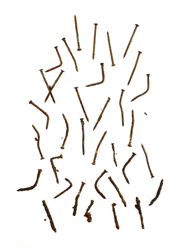 photography idea arrange scrap metal nails