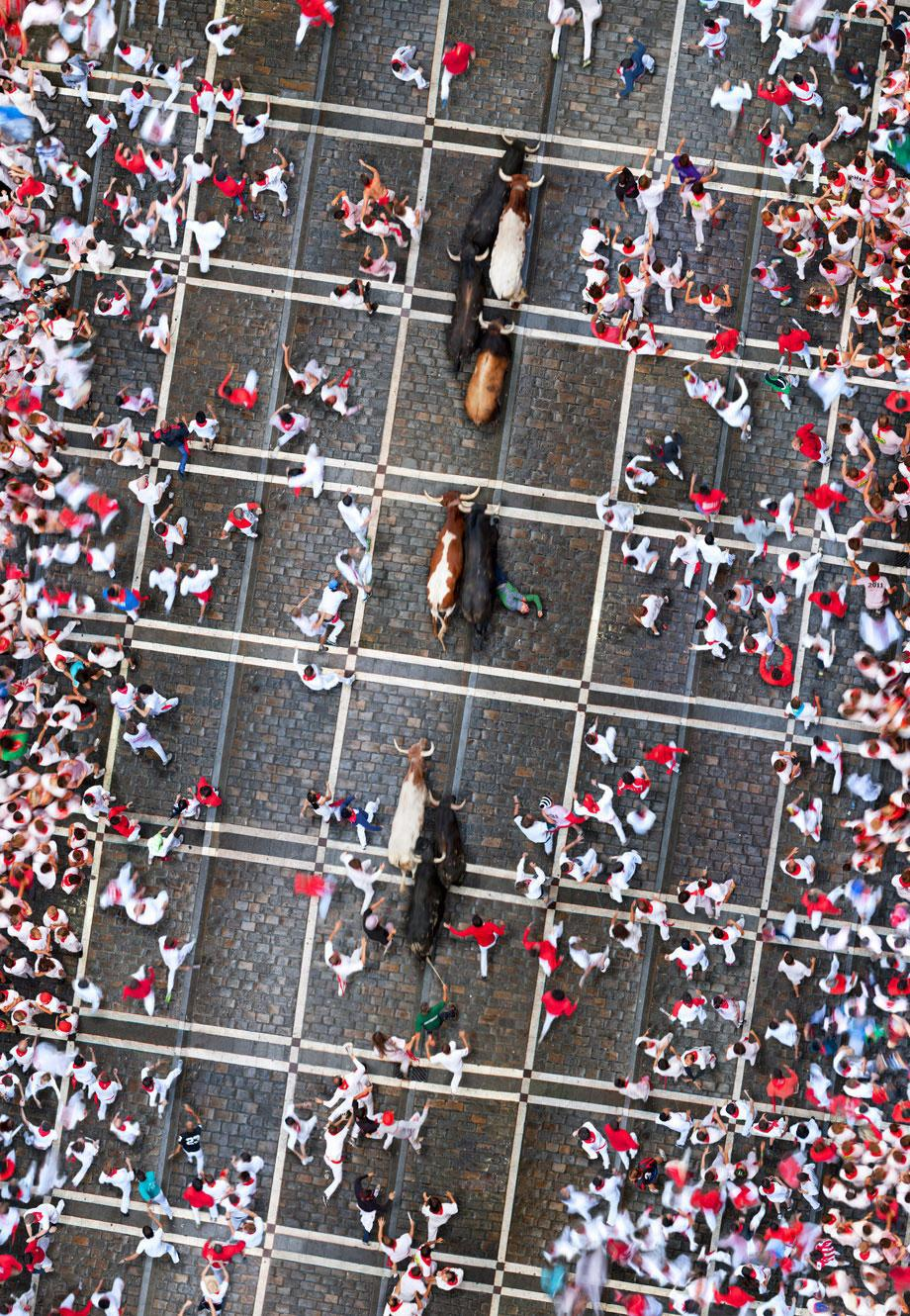 aerial photography bull fight by katrin korfmann