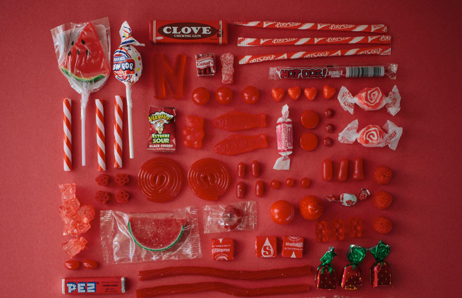 arrange objects photography idea red color candies emily blincoe