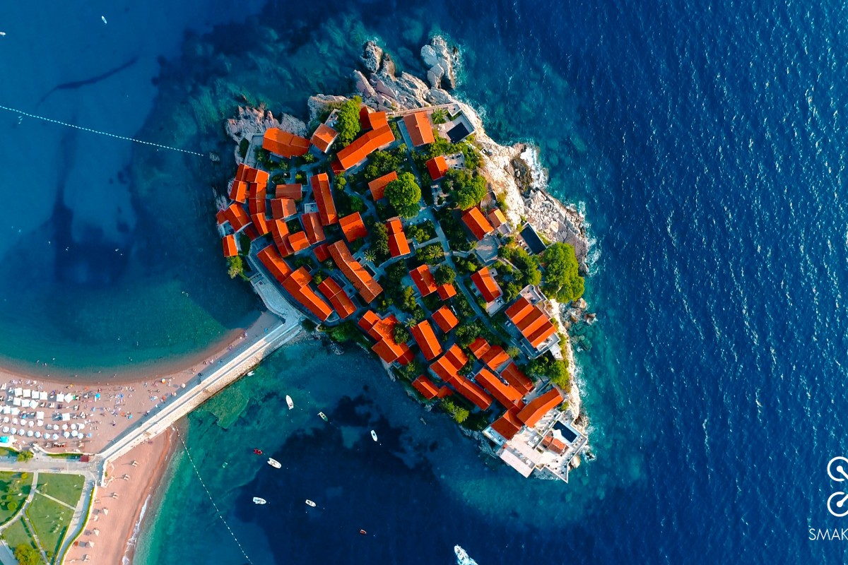 aerial drone photography sveti stefan hotel smakadron