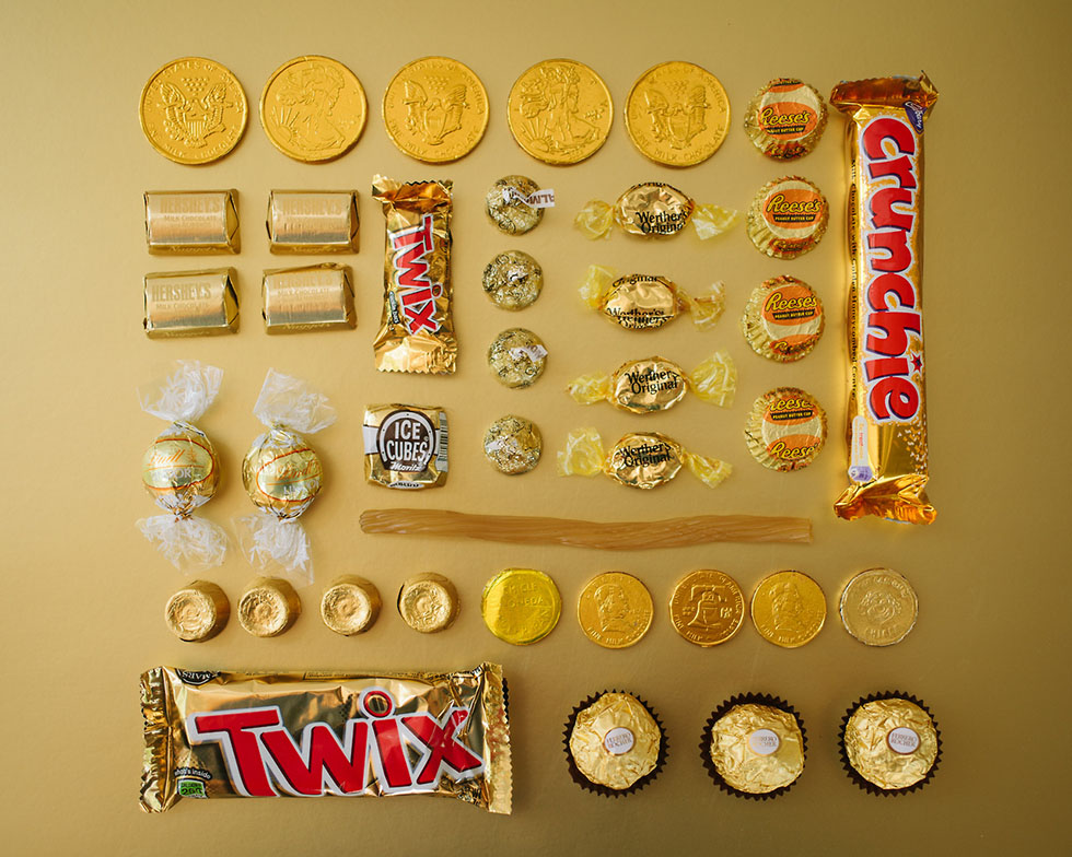 arrange objects photography idea golden candies emily blincoe