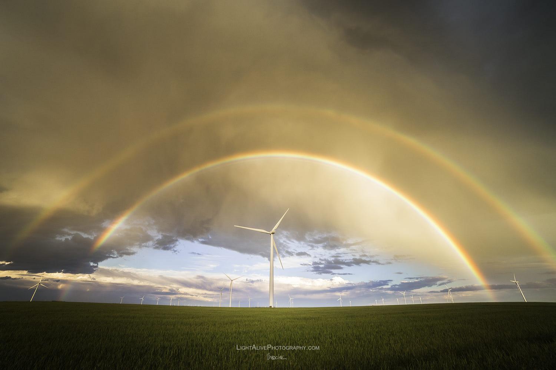 sky photography windmill double rainbow by nicolaus wegner