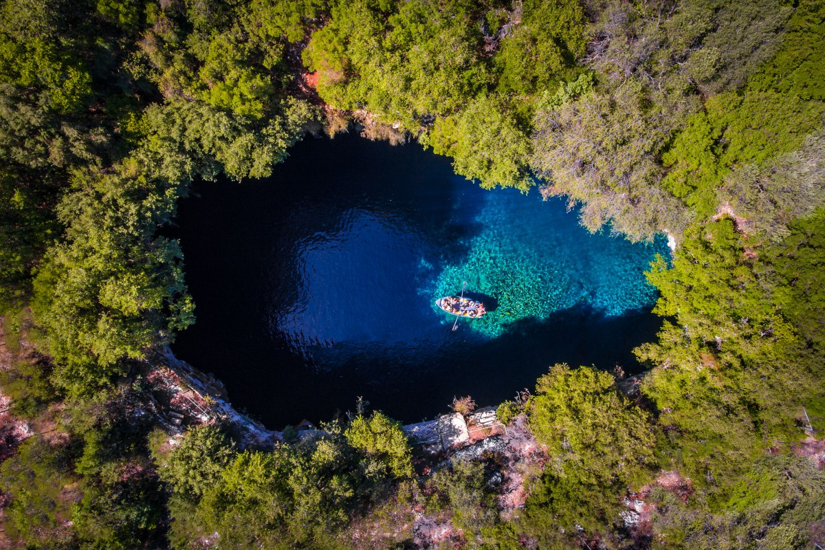 aerial drone photography kefalonia melissani cave calin stan