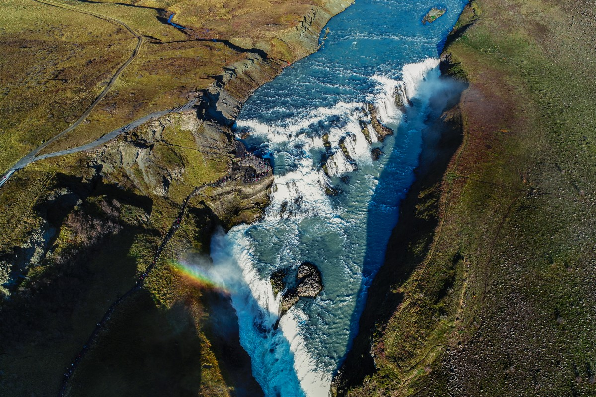 aerial drone photography waterfall iceland vaidas