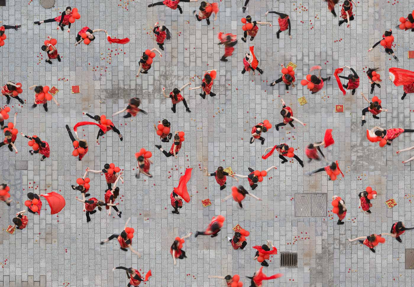 aerial photography red black by katrin korfmann