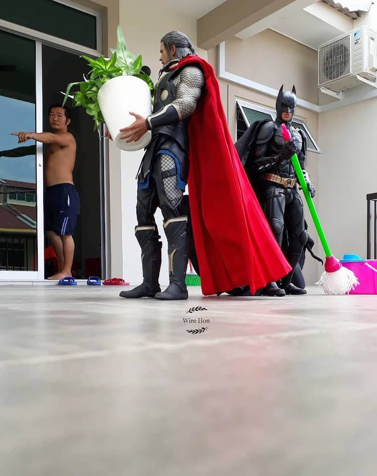forced persepective photography thor batman cleaning by wire hon