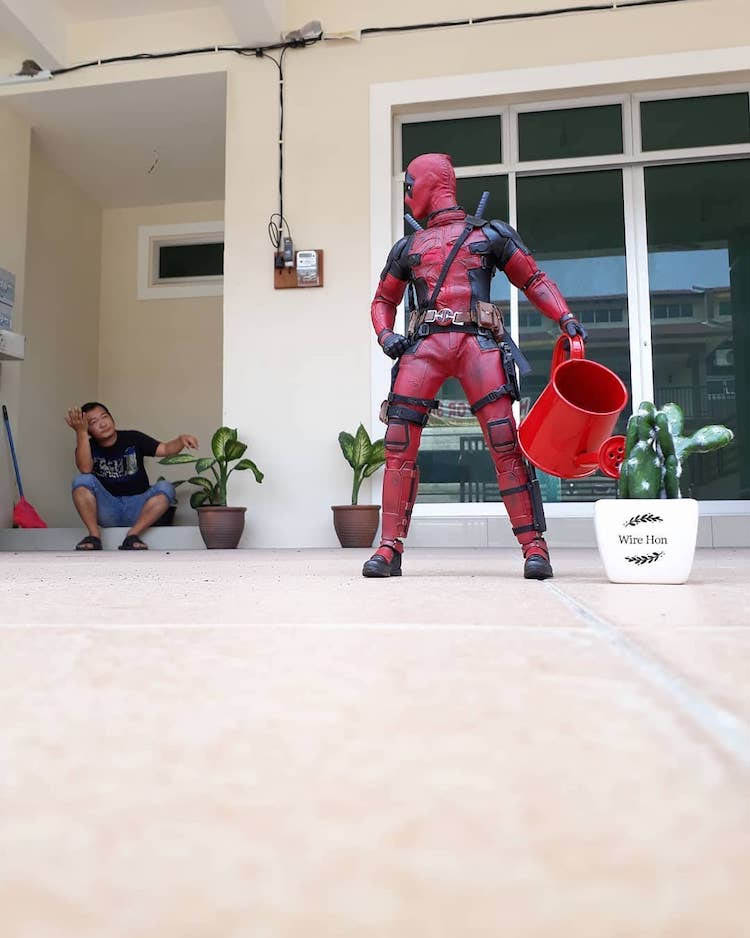 forced persepective photography antman cleaning by wire hon