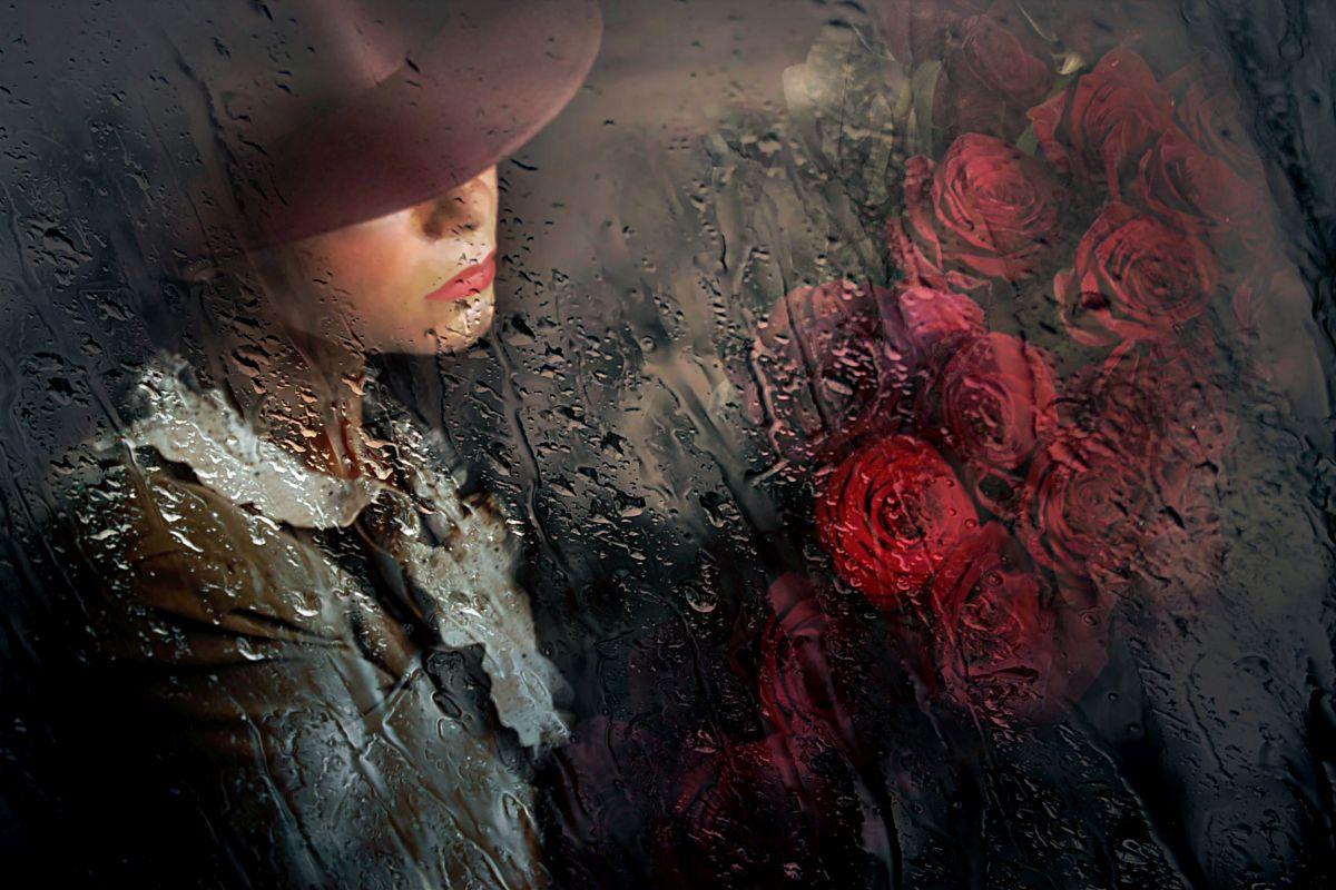 photography rain woman glass by adela lia rusu