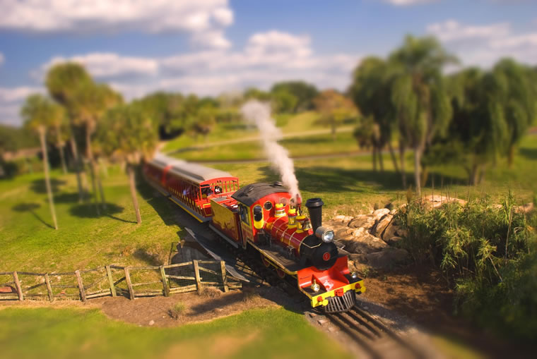 12 train tilt shift photography
