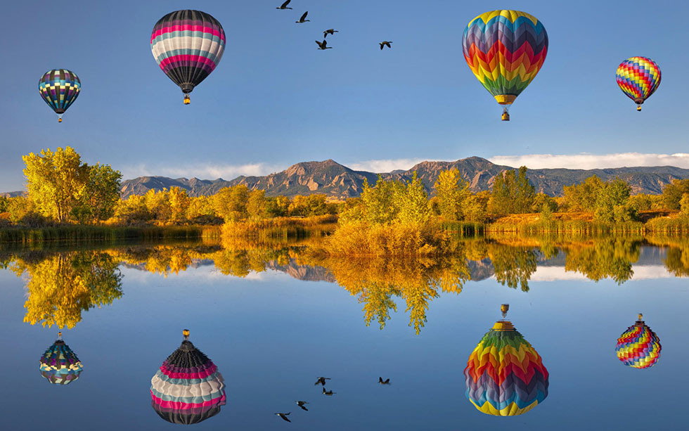18 balloons reflection photography