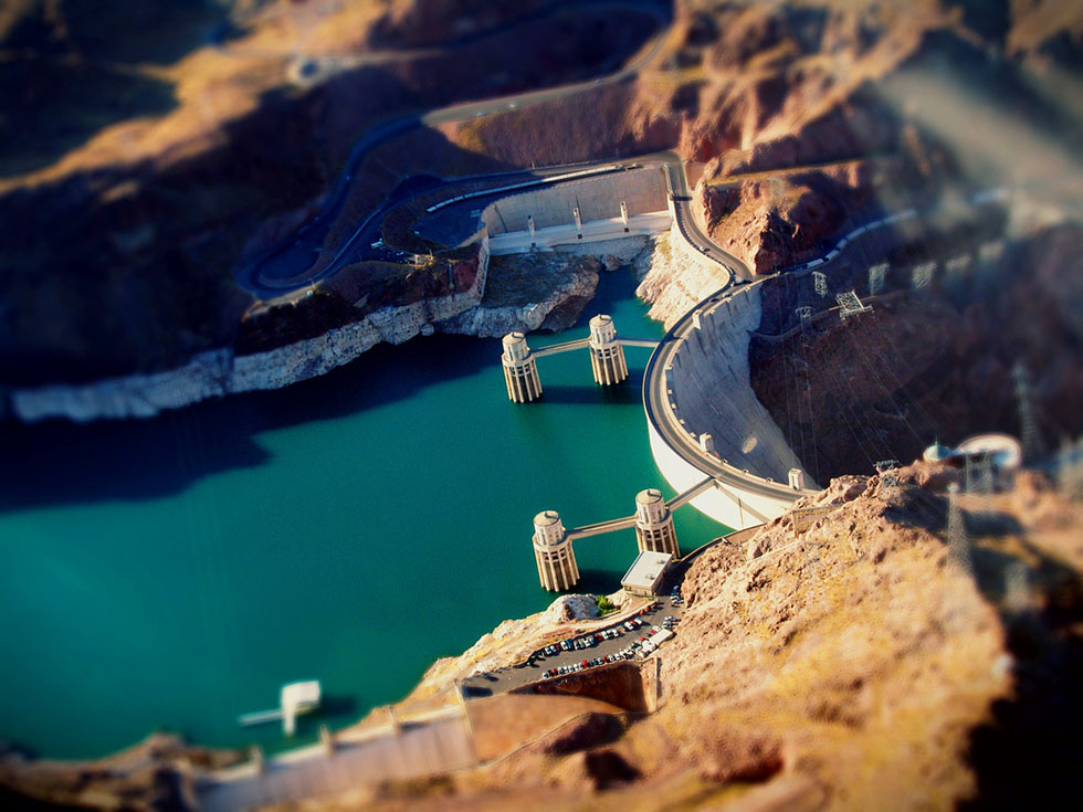3 hoover dam tilt shift photography