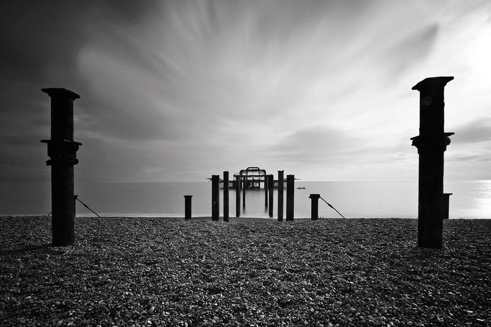 black white photography beach