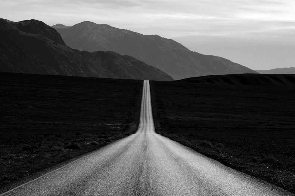 road black white photography