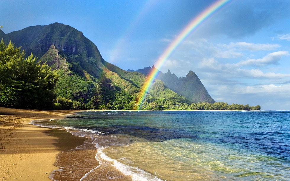 sea shore rainbow photography