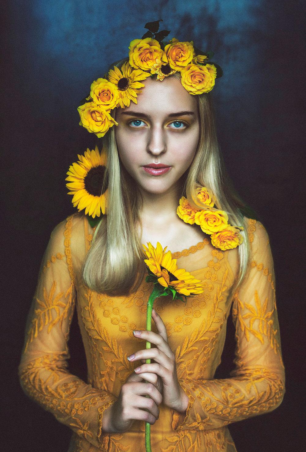 beautiful women photography sunflower