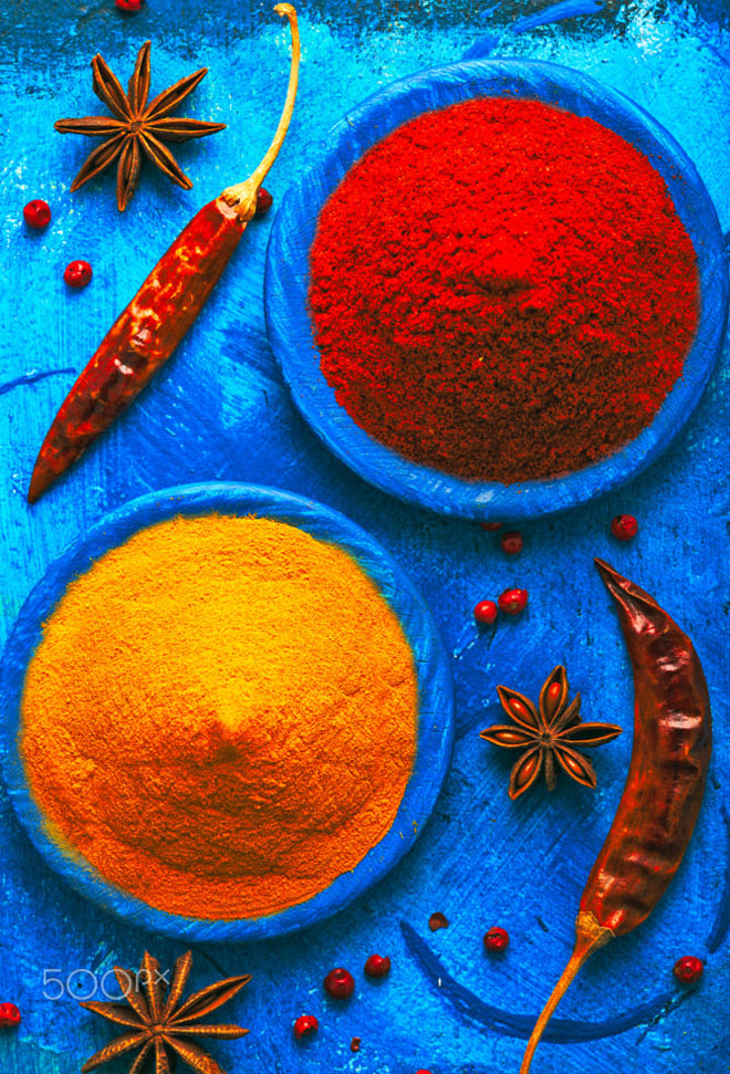 colorful photography india spices by alik fatkhutdinov