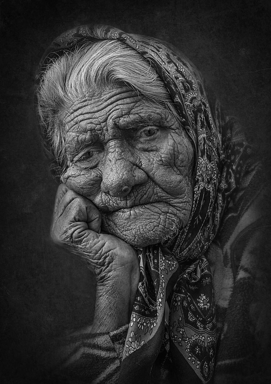 black white photography old woman by mandru cantemir
